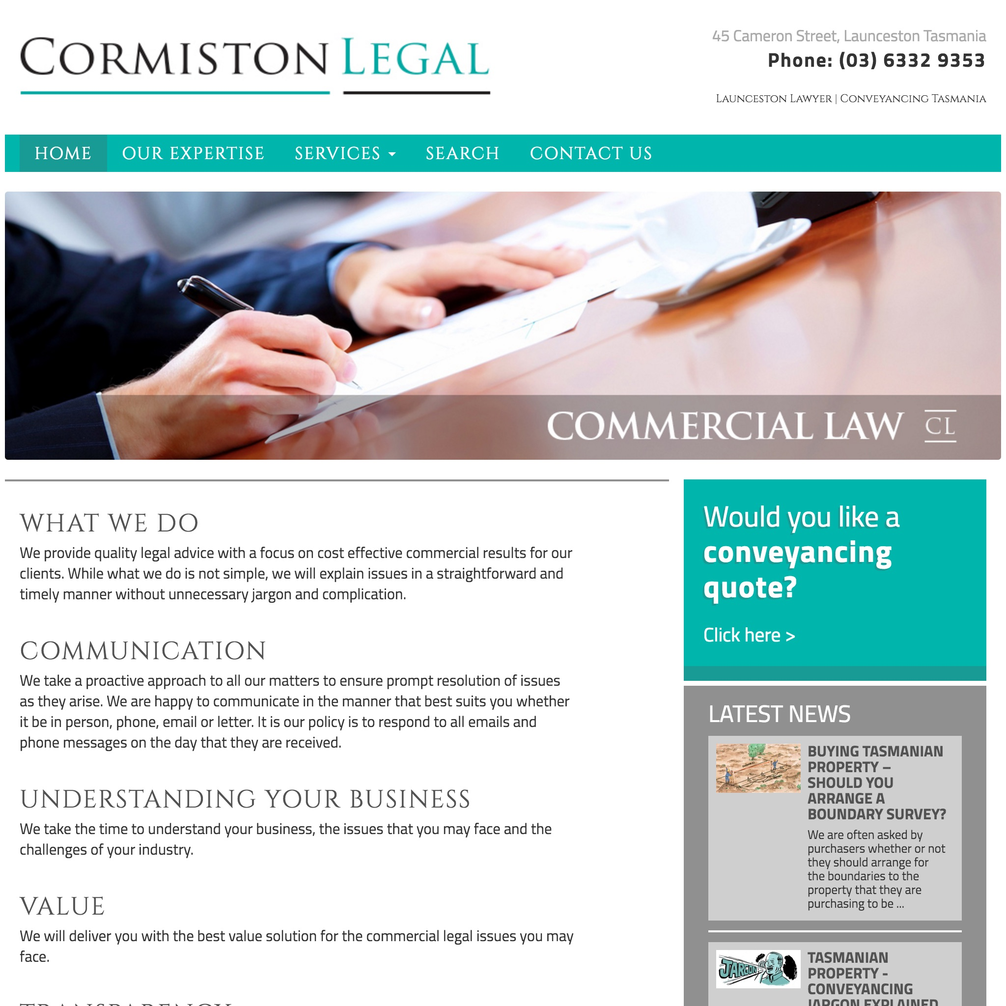 Cormiston Legal website